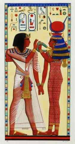 Pharaoh Seti and Goddess hold hands