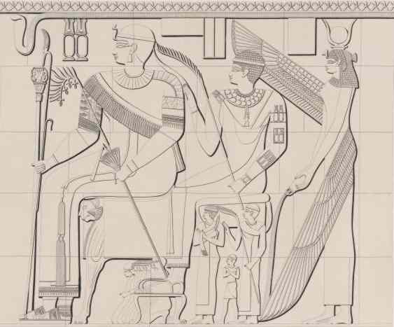 Winged Isis pours an offering for the King and perhaps his son. The male figures are heavier, Isis is thinner and all have more formal expressions than in Northern Egyptian art.