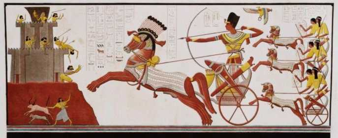 Rameses II in his chariot attacks the enemies of Egypt.