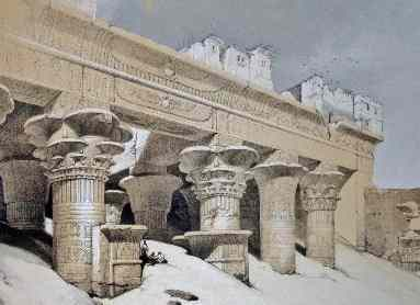 People built their houses atop Edfu Temple to avoid the bugs.