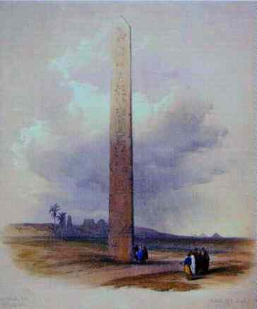 Heliopolis obelisk by David Roberts, 1838.
